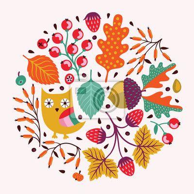 Canvas of Poster Sier ronde bloemmotief. Herfst achtergrond