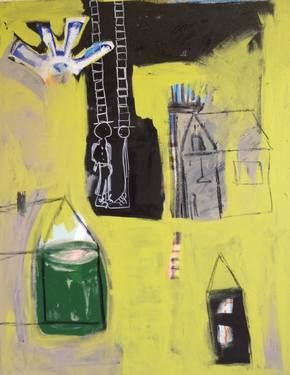 """Hic Ande Thu (all birds  have nests by Borg de Nobel; oil, acrylic, ink and charcoal on canvas; 39.4 H x 29.5 W x 0.8"""" 