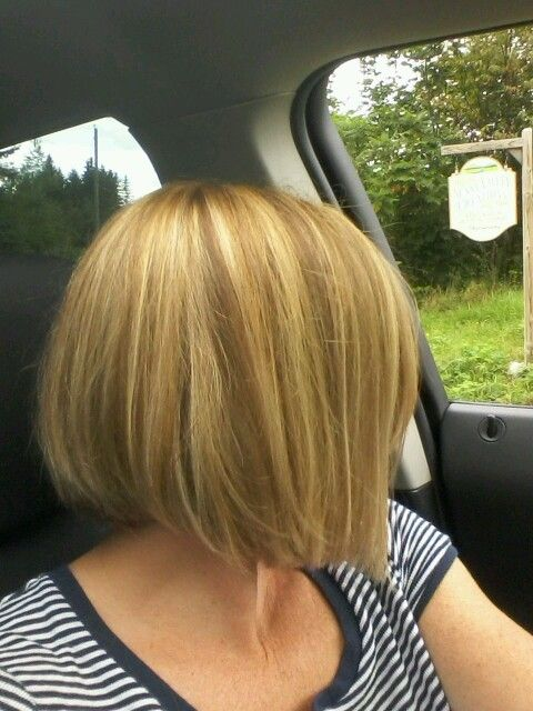 Chin length hair cut.  Red and blonde color.  Bob hair cut.