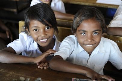 Secretary-General Ban Ki-moon visited the Cassait Primary School in the Liquica district of Timorese capital Dili. <br/><br/>Children at their desk in a classroom at the school.