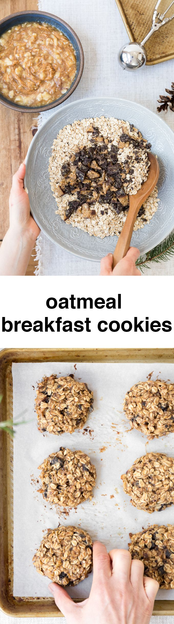 Banana Oatmeal Breakfast Cookies are nutritious, tasty and super easy to make. They make perfect grab-and-go breakfast for busy mornings. #sponsored