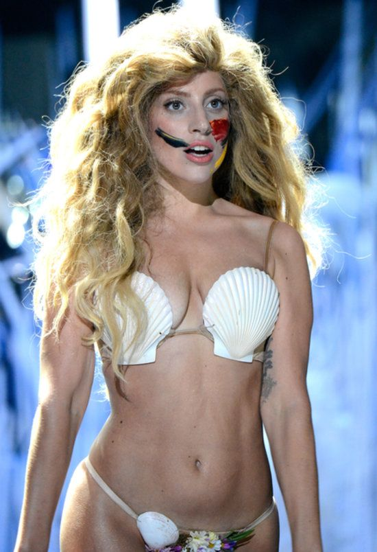 Lady Gaga finished out her VMAs performance wearing this ombré mermaid wig (and very little else).