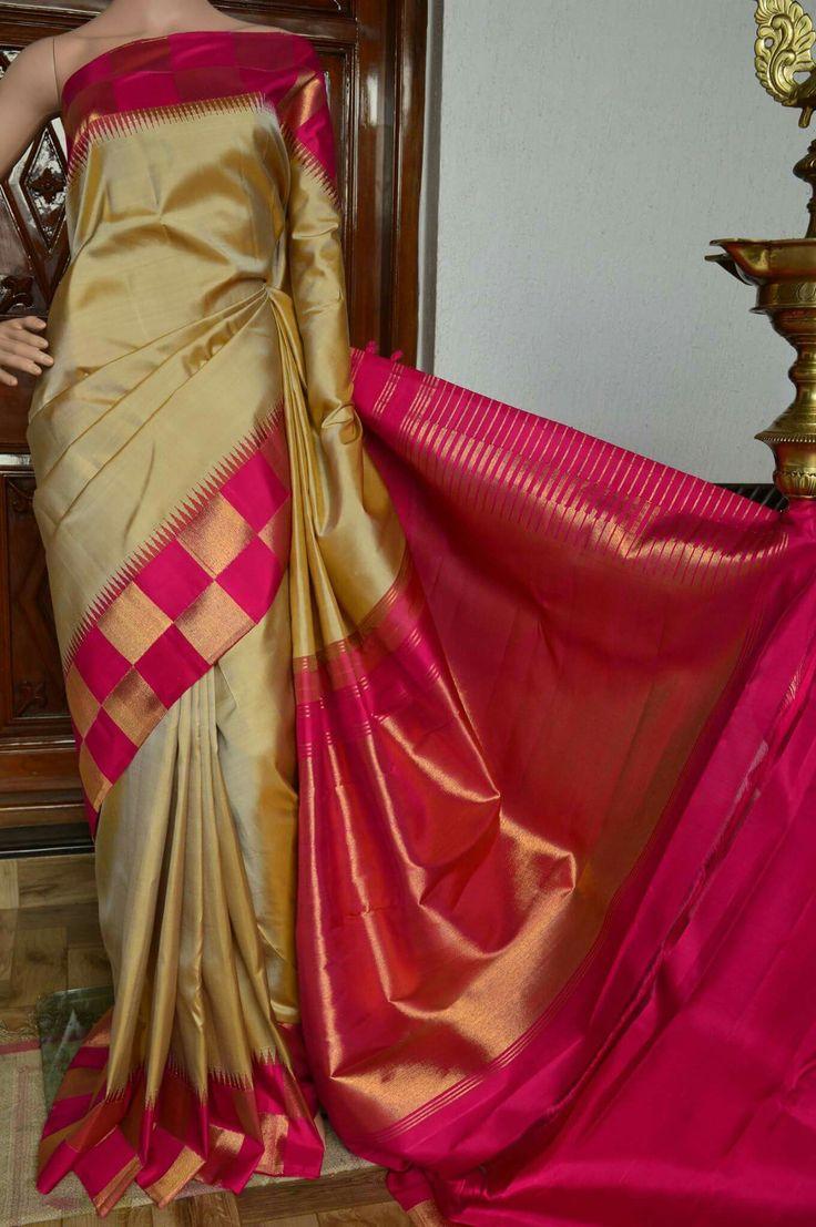 Pure kanchipuram silk Cost: 18500 inr Whatsapp: 91 7019277192