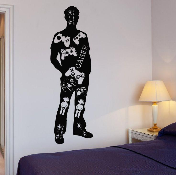 創造的なゲーマーゲーマー体壁デカール十代ビデオゲームプレイ男の子の部屋ビニールウォールステッカー子供の寝室の装飾的な家の装飾(China (Mainland))