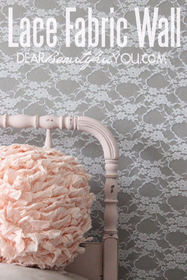 DIY Renters Decor Ideas - DIY Lace Accent Wall - Cool DIY Projects for Those Renting Aparments, Condos or Dorm Rooms - Easy Temporary Wall Art, Contact Paper, Washi Tape and Shelves to Make at Home http://diyjoy.com/diy-decor-ideas-for-renters