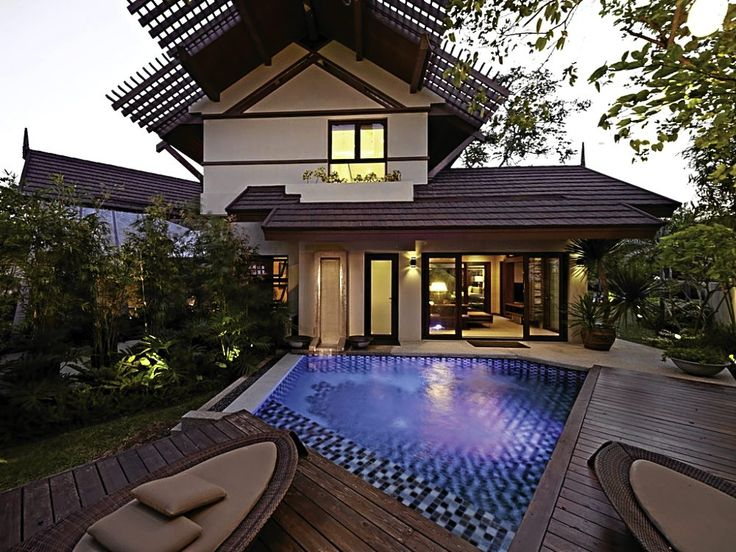 Geloma osa s house with tiered canopy evocative of the for Pool design philippines