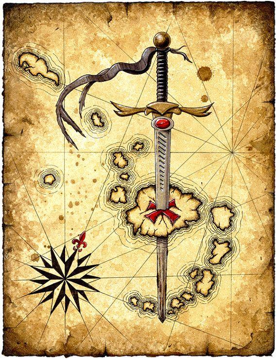 Impression d'Art île d'épée, épées, armes médiévales, épée de Pirate, Compass Rose, cartes de l'île, parchemin, Pirates, Pirate Art, cartes nautiques