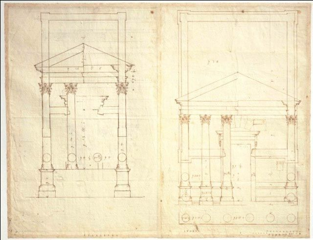 Andrea Palladio Plan And Elevation Of A Tetrastyle