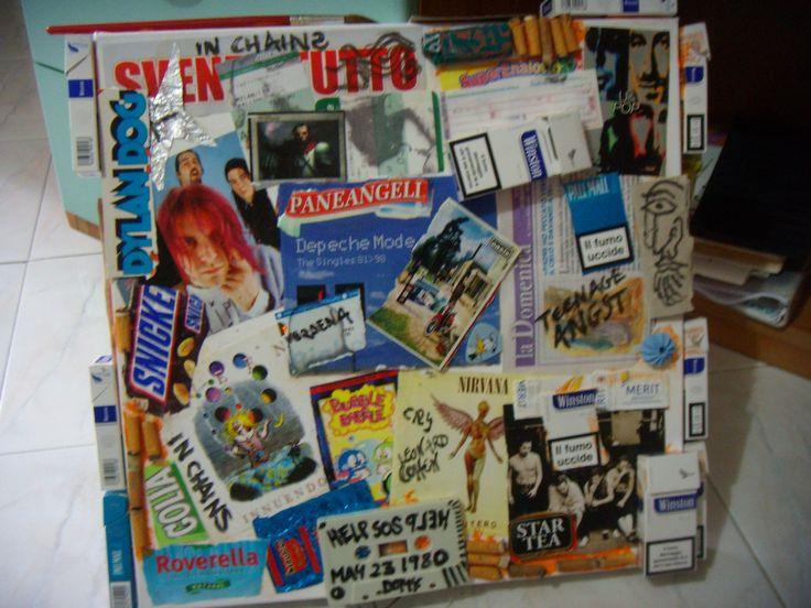 Collage della mia stanza su tela