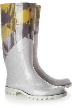 Style : Ten Freaking Adorable Rain Boots  Burberry|Checked Wellington boots|NET-A-PORTER.COM