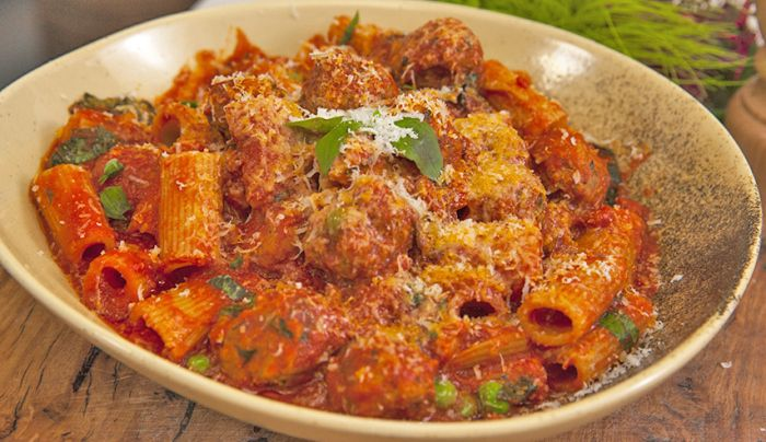 Lamb and Pea Meatballs with Rigatoni - Good Chef Bad Chef