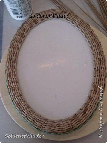 Мастер-класс Поделка изделие Масленица Плетение Чайный поднос из пластиковой крышки Бумага газетная Трубочки бумажные фото 24