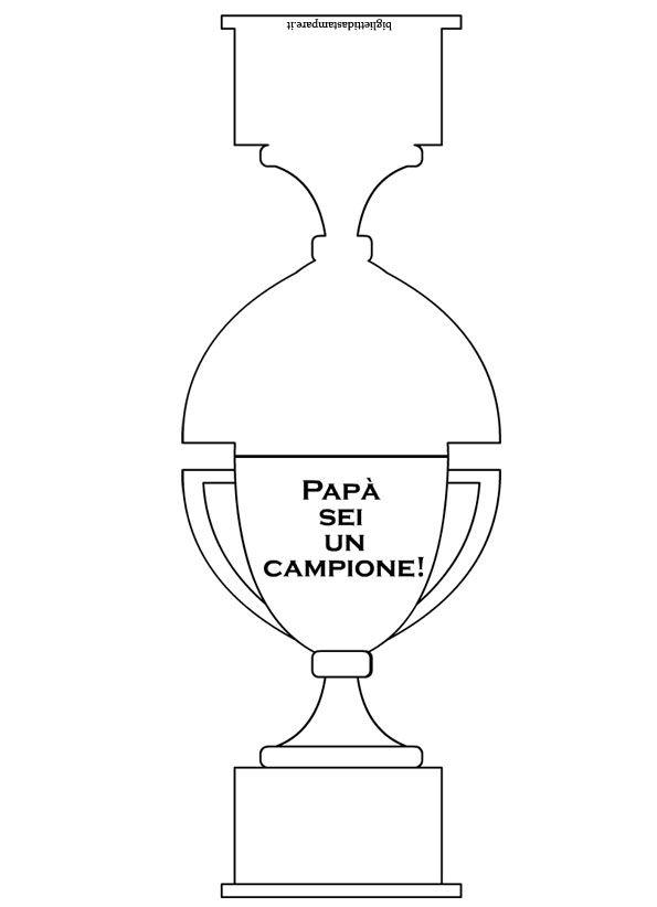 Biglietto Festa del Papà da colorare - Coppa