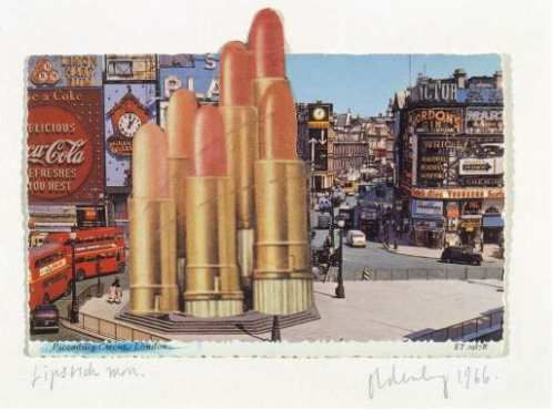 """C.Oldenburg, """"lipstick monument in Piccadilly Circus"""", projet 1966"""