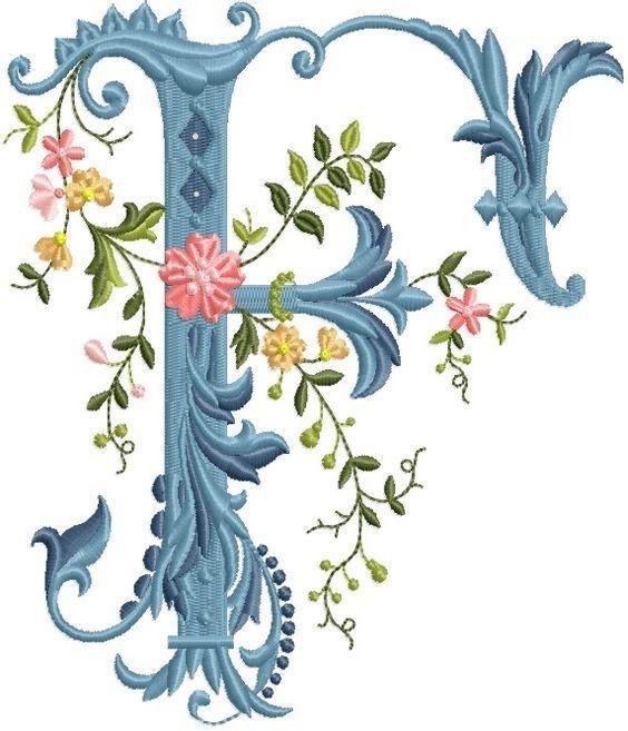 alfabeto celeste con flores F