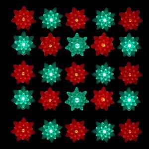 kurt s adler 25 light led red and green petal reflector indooroutdoor - Green And Red Christmas Lights