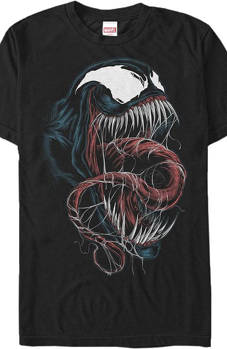 Black Venom T-Shirt  This popular villain is artfully designed and illustrated similar to comic book covers.