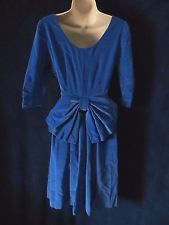 50's Vintage Pin Up Dreamy Blue Velvet Big Bow Formal Swing Trophy Wife Dress XS