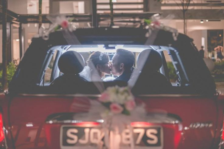 Wedding day photography in Singapore! - wedding car, red mini cooper.