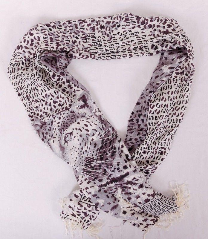 Шарф Fendi (Фенди) длинный, мягкий, с леопардом, цвет черно-белый. Размер 180x70cm #19966
