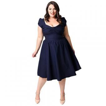 Vestido plus size flared  puffy dress-Nergo