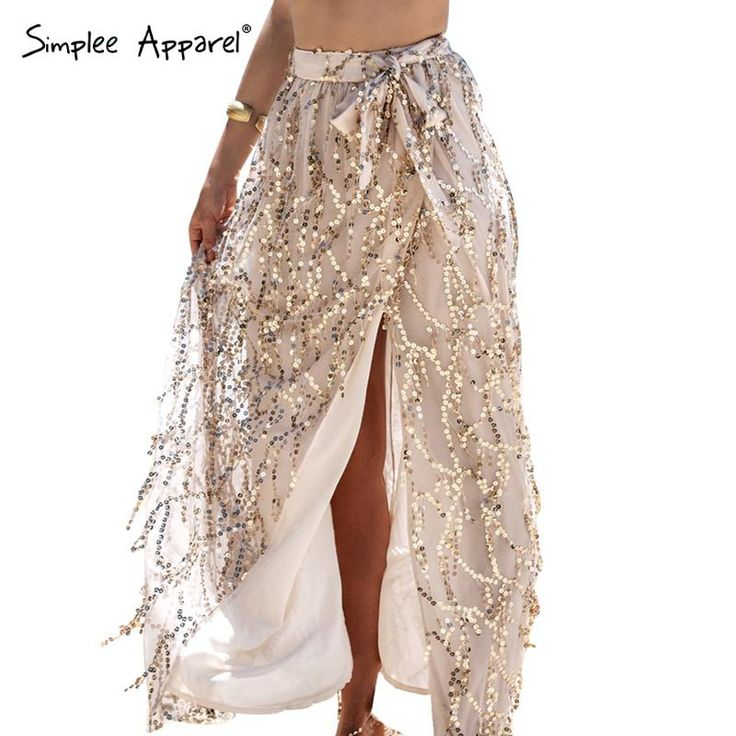 Simplee Одежды сексуальная сторона сплит блесток длинные юбки женщин Элегантный прямо пляж летние юбки 2016 вечер сетки макси юбкикупить в магазине Simplee ApparelнаAliExpress