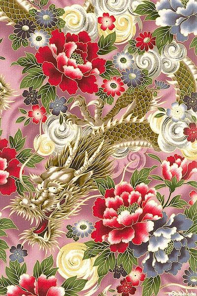 QGHYA6MA 'Dragon' collection, Hyakka Ryoran series by Quilt Gate.