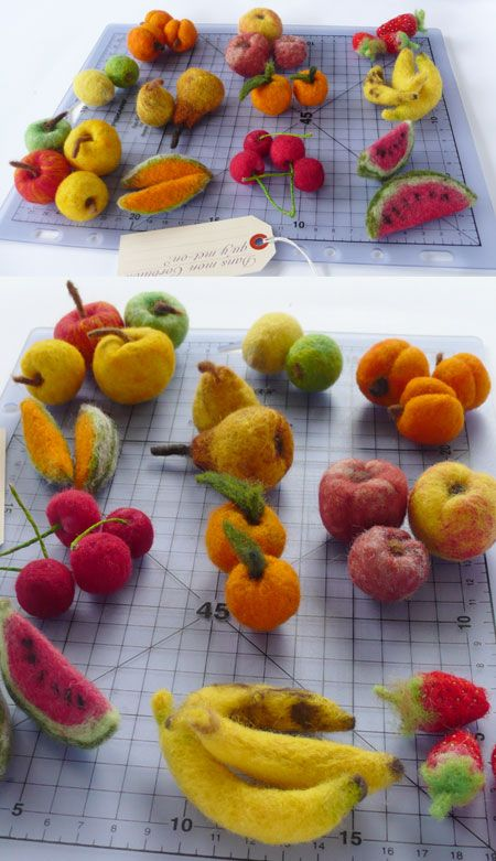 fruits en laine cardée - felt food