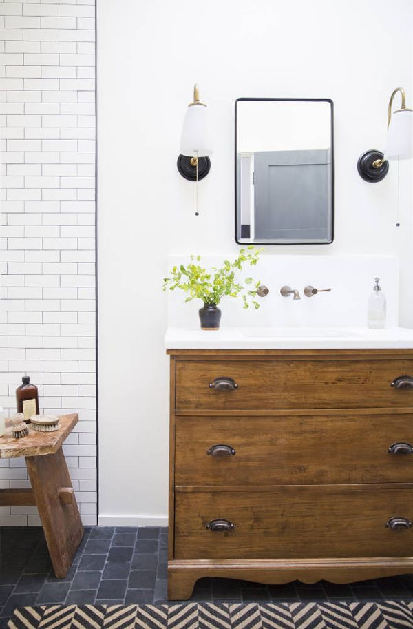 bathroom: Bathroom Design, Wood, Floors, Vintage Dressers, Bathroom Vanities, Subway Tile, Sinks, House, Lauren Liess