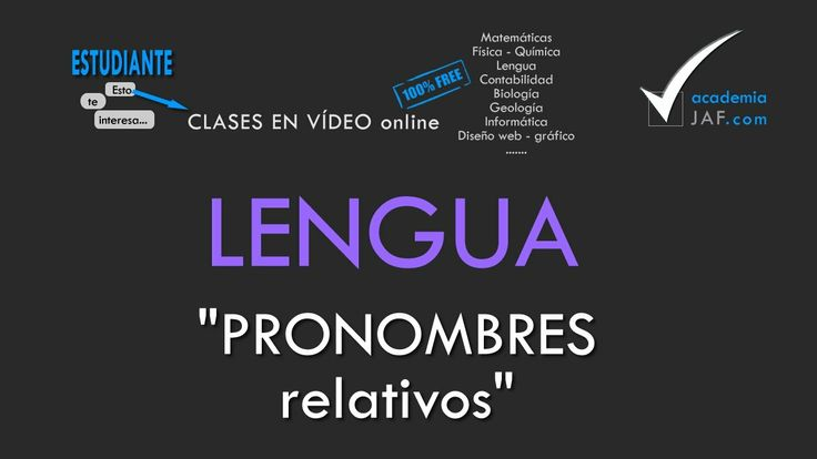 Los pronombres relativos - Lengua Española análisis morfológico - academ...