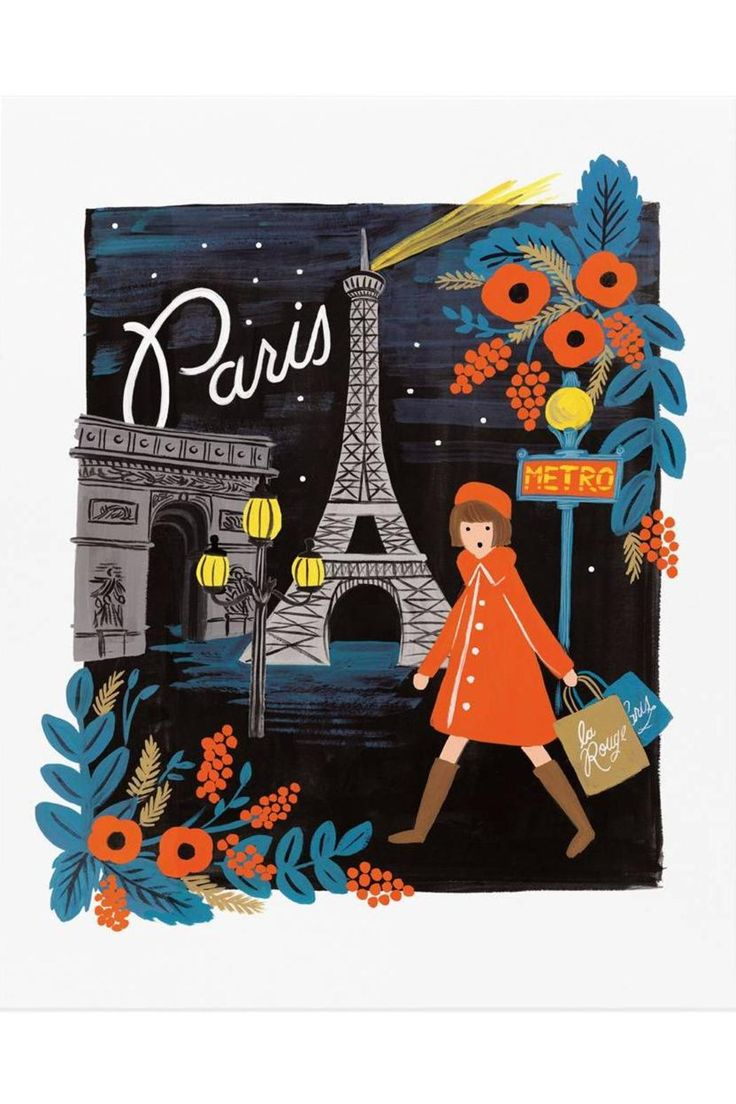 """16 x 20"""" Illustrated Art Print created from an original gouache painting by Anna Bond.   Paris Art Print by Rifle Paper Co. . Home & Gifts - Home Decor - Wall Art Austin, Texas"""