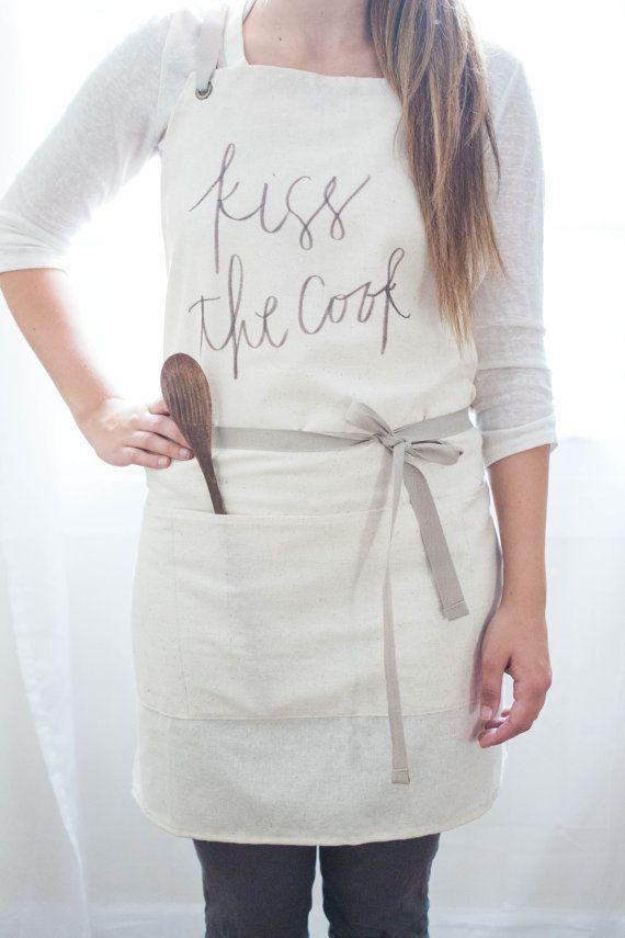 Kiss the Cook Apron present housewarming by ParrisChicBoutique