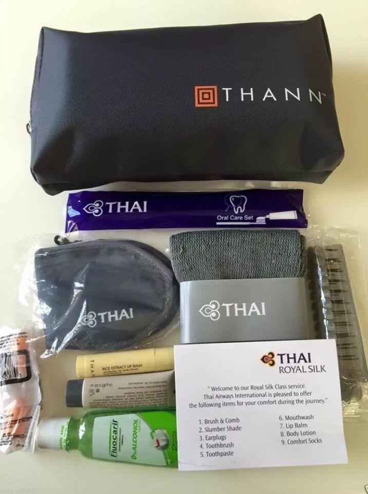 Thai Airways Airline Amenity Kit Bag Royal Silk Business Class Thann Dising