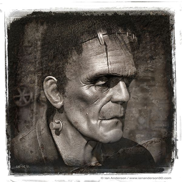 Working on a series of retro Frankenstein's Monster images...  sculpted in ZBrush, background modelled in Modo