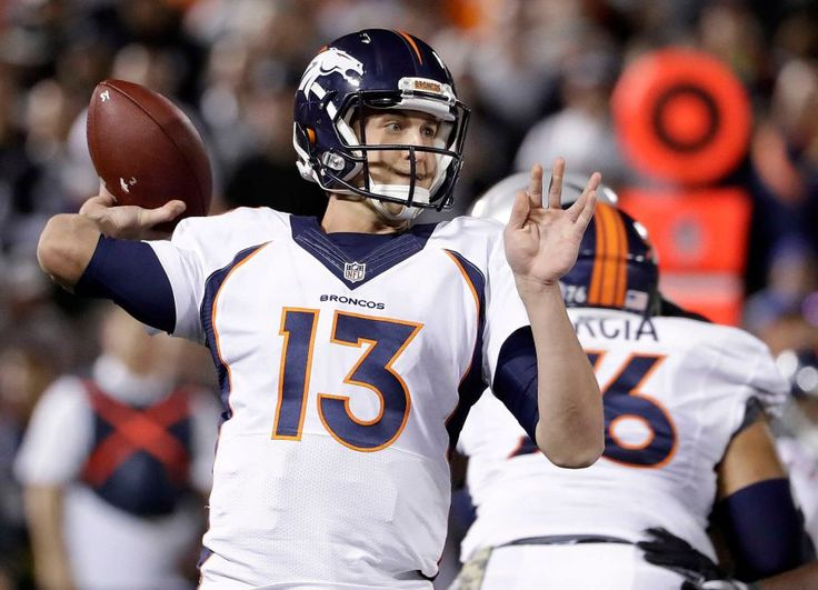 Broncos vs. Raiders:   November 6, 2016  -  30-20, Raiders  -     Denver Broncos quarterback Trevor Siemian (13) passes against the Oakland Raiders during the first half of an NFL football game in Oakland, Calif., Sunday, Nov. 6, 2016.
