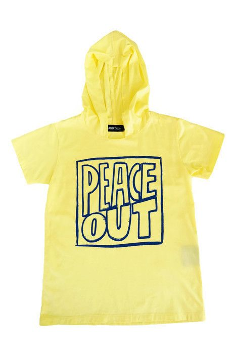 Bandit Kids Yellow Peace Out Hooded Tee available now for international delivery from A Little Bit of Cheek