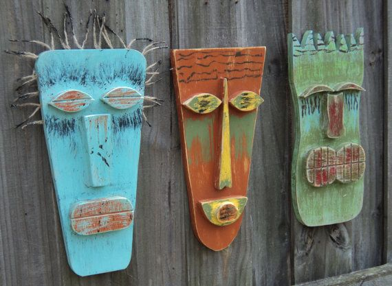 Tiki Man, Tiki Mask, Primitive Wall Hanging, Rustic Beach House, Wood Sculpture on Etsy, $25.00