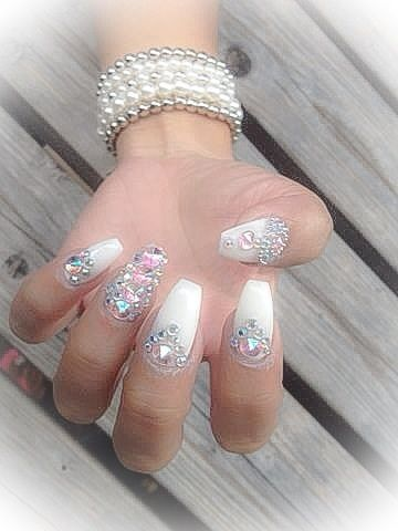White Acrylic Nails with Swarovski Crystals Nail Art by Lillys Nails Maidstone