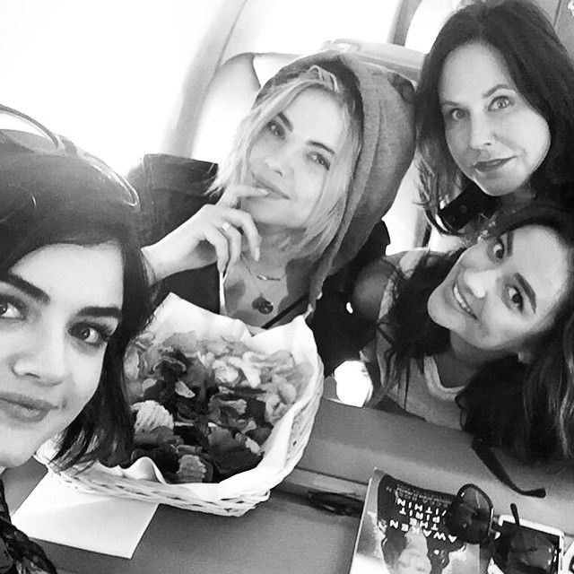 Lucy Hale, Ashley Benson, Marlene King, and Shay Mitchell