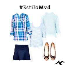 #EstiloMVD nos trae un nuevo look para esta temporada. ♥ Mini azul y Sweater de Forever 21; Camisa escocesa y Remera rayada de Gap Mocasín Print de Pasqualini