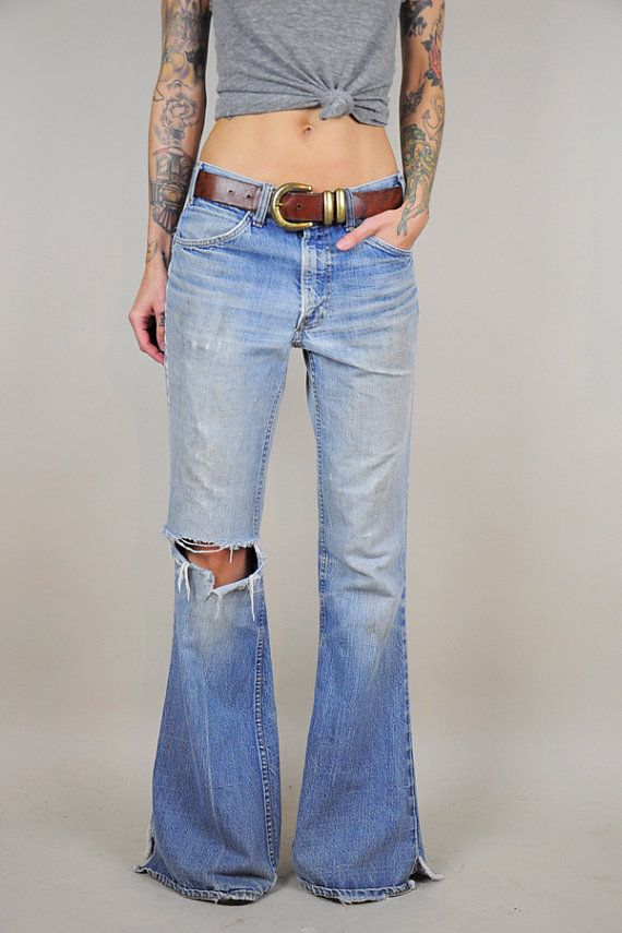 LEVI'S 70's Orange tab WORN Bell Bottom Jeans /// NOIROHIO VINTAGE
