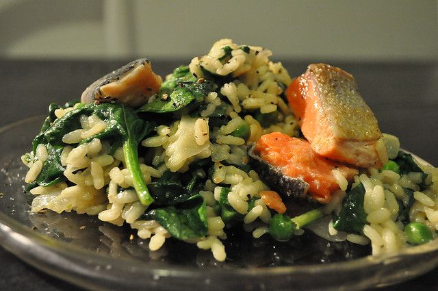salmon risotto recipe ~ great idea for that left over grilled salmon