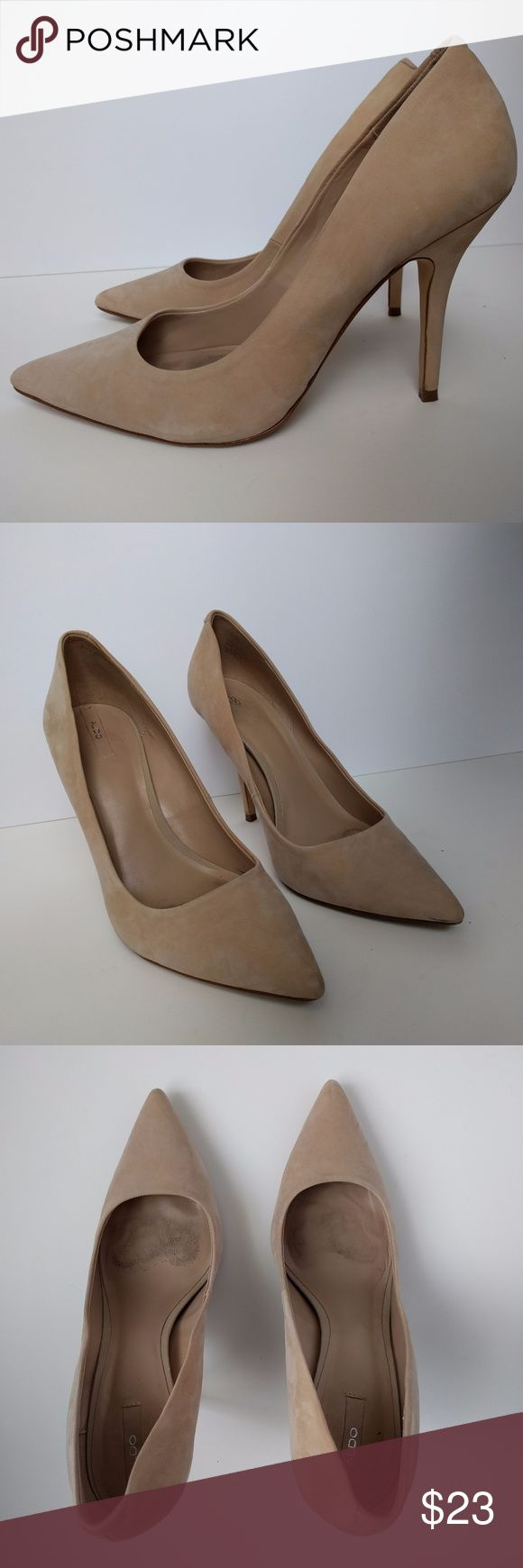 Aldo Leather Nude Pumps Heels Haollan Bone Size 10 These Aldo Suede Nude Pumps have only been worn a couple of times and are in great condition   Style: Haollan  Size: 10 (runs small–fits like an 8.5/9)  Very high heel - 4 inches  Color: Bone (nude/light tan)  Leather upper  Original box included Aldo Shoes Heels