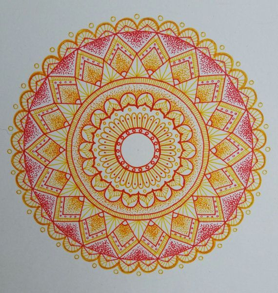 original hand drawn red and orange mandala