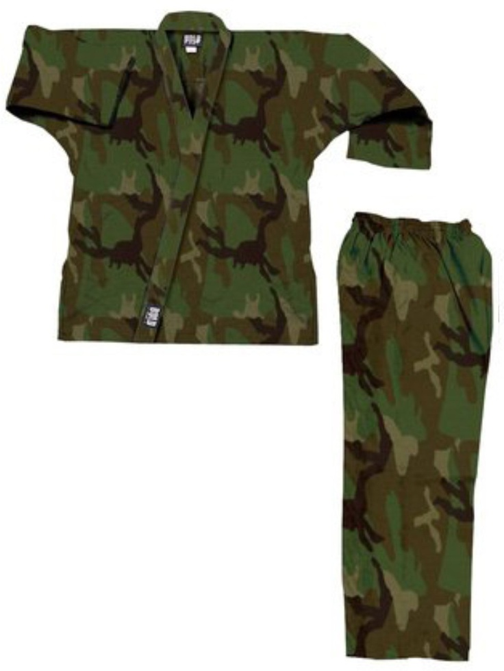 Martial Arts green camo gi, military style Martial Arts uniform.