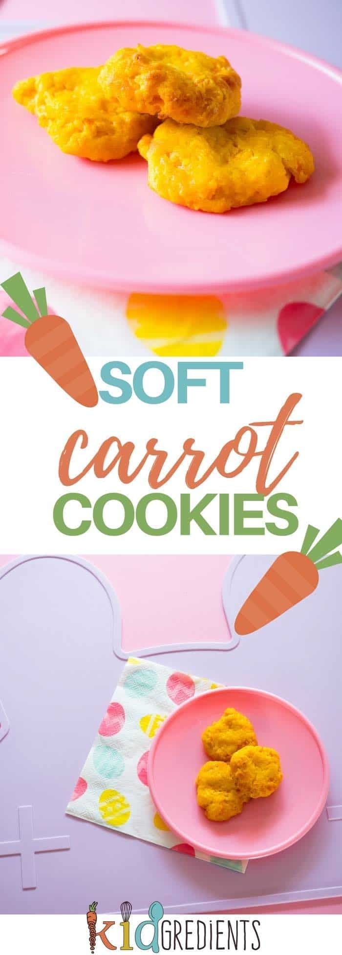 Soft carrot cookies, sweet enough with just a touch of maple syrup and dairy free! #kidsfood #babyledweaning #hiddenveggies #carrots via @kidgredients