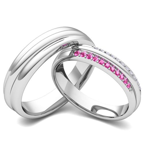 Matching Wedding Band In Gold Pave Diamond And Pink Sapphire Ring This Set Showcases A For Her