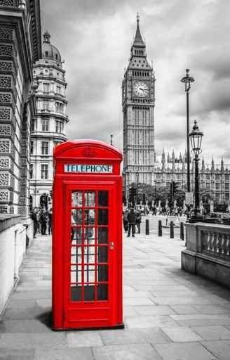 Placa Decorativa - London Telephone Booth. london, telefone, cabine telefónica, turismo, vermelho, big ben
