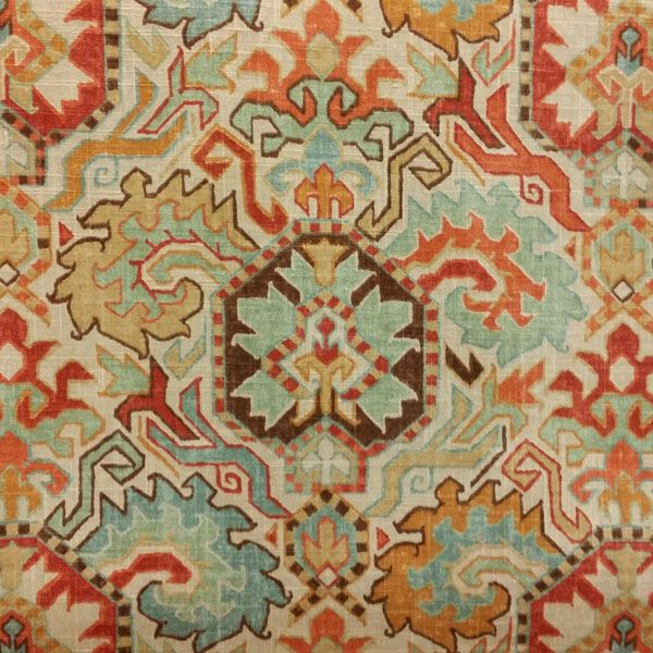 This is a beautiful orange, blue, brown and gold floral southwestern drapery fabric.