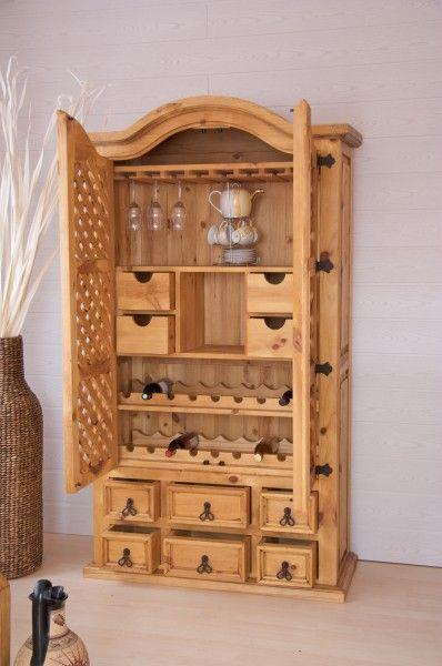 barschrank hacienda pinie massiv hellbraun gebeizt gewachst pinie holz m bel. Black Bedroom Furniture Sets. Home Design Ideas